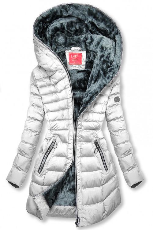Zimní prošívaná bunda s kapucí bílá