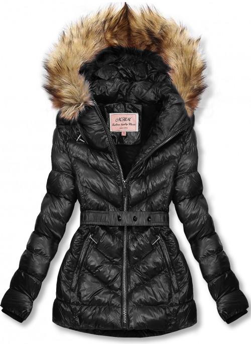 Černá zimní krátká bunda s hnědou kožešinou
