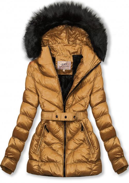 Karamelová zimní krátká bunda s hnědou kožešinou