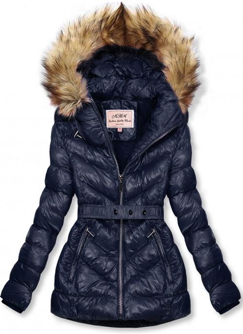 Tmavě modrá zimní krátká bunda s hnědou kožešinou