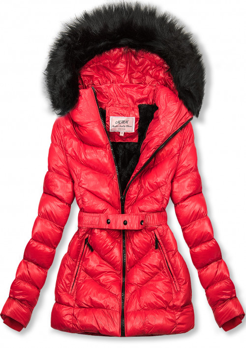 Červená zimní krátká bunda s černou kožešinou