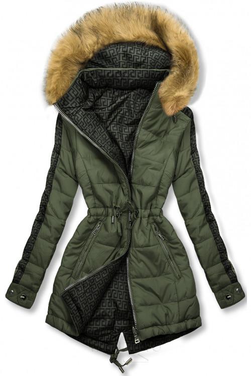 Khaki/zelená oboustranná zimní parka