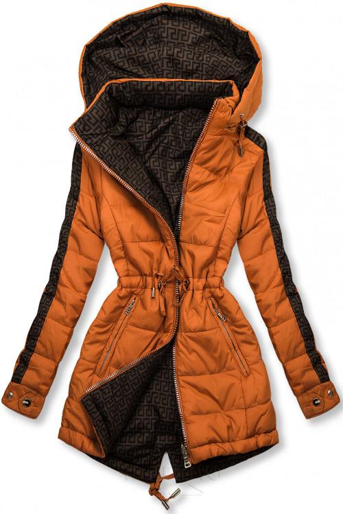 Cihlově oranžová/hnědá oboustranná bunda s výplní