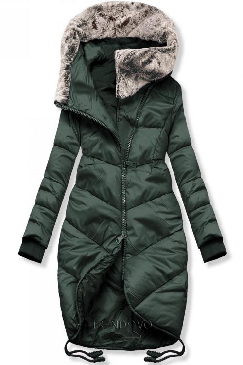 Zelená zimní bunda v prodlouženém střihu
