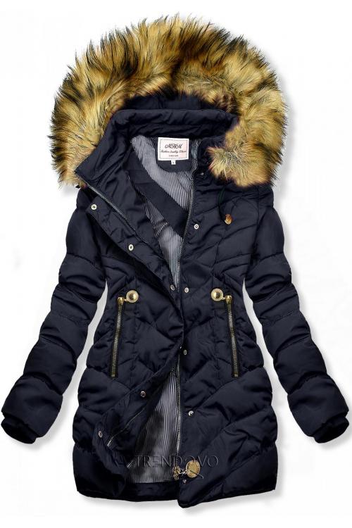 Modrá prošívaná bunda na podzim/zimu