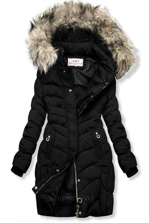 Černá prošívaná bunda s kožešinou
