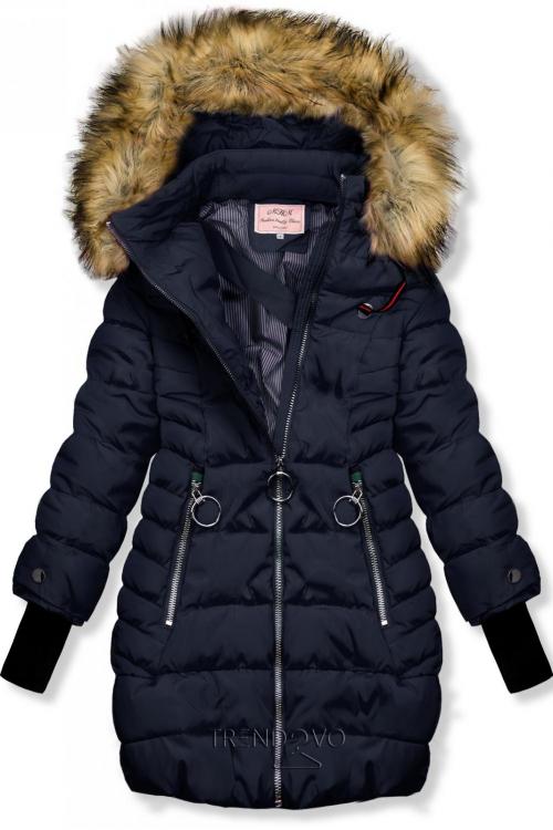 Tmavě modrá zimní bunda s prodlouženými rukávy