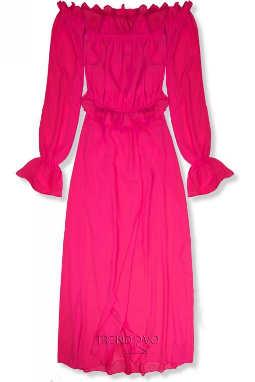 Fuchsiové letní dlouhé šaty