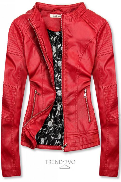 Červená prošívaná koženková bunda