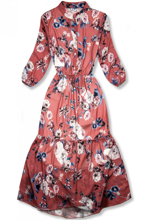 Květinové midi šaty cihlově červené