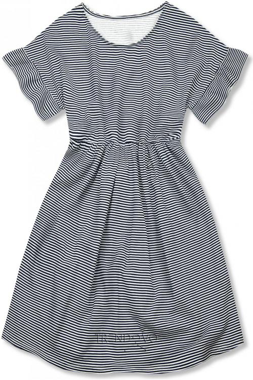 Modro-bílé volné pruhované šaty IV.