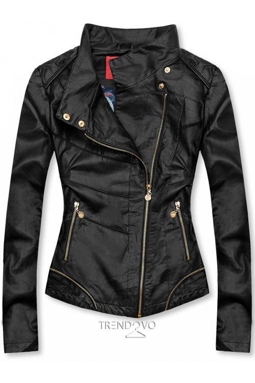 Černá krátká koženková bunda