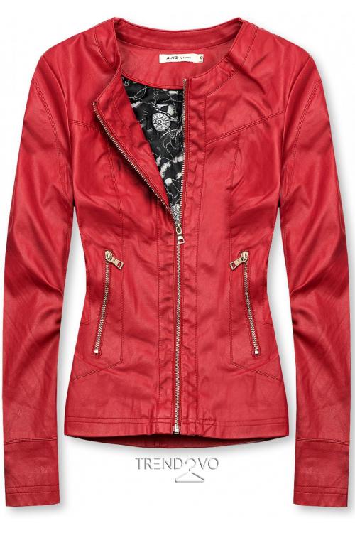 Červená koženková bunda se vzorovanou podšívkou