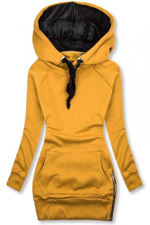Žlutá mikina se sametovou kapucí