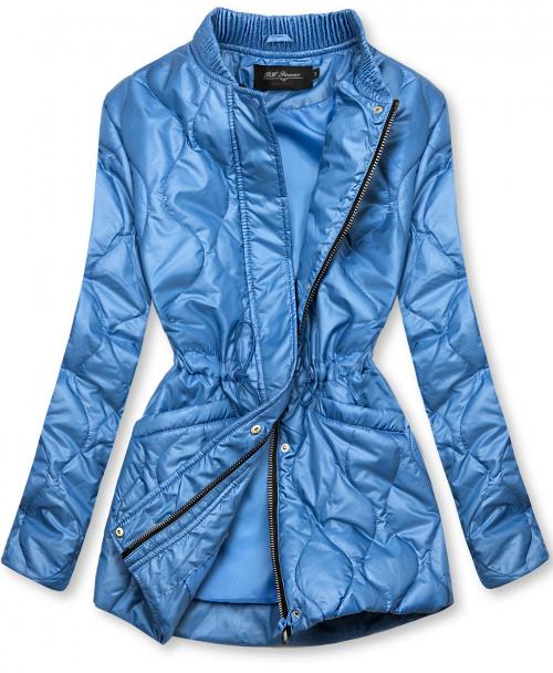 Modrá prošívaná bunda bez kapuce