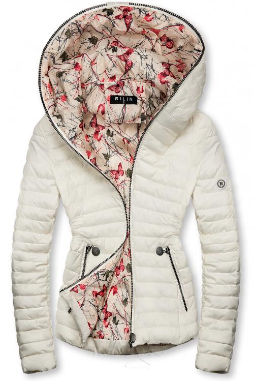Bílá prošívaná bunda se vzorovanou podšívkou
