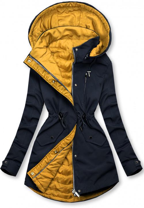 Oboustranná bunda tmavě modrá/žlutá