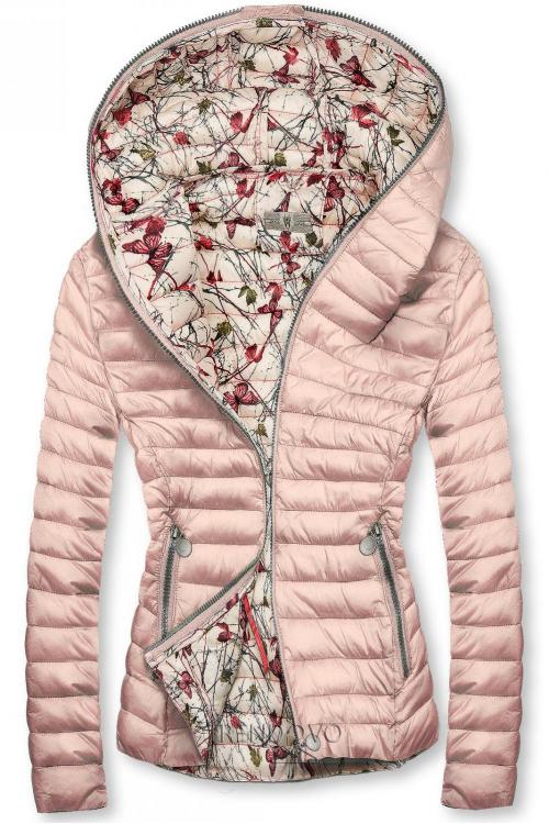 Světle růžová prošívaná bunda s kapucí