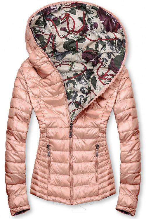 Růžová prošívaná bunda s barevnou podšívkou