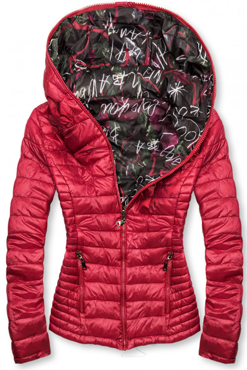 Červená prošívaná bunda s barevnou podšívkou