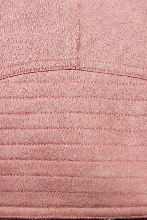 Růžová semišová bunda