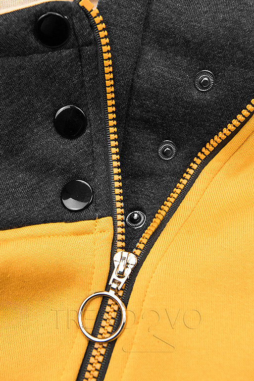 Žlutá mikina se šikmým zipem