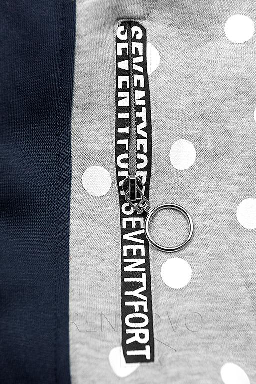 Tečkovaná mikina šedá/modrá