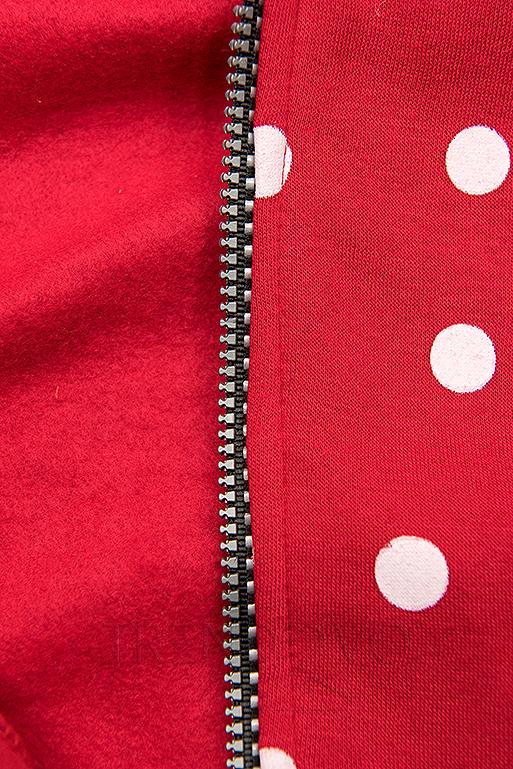 Tečkovaná mikina červená/černá