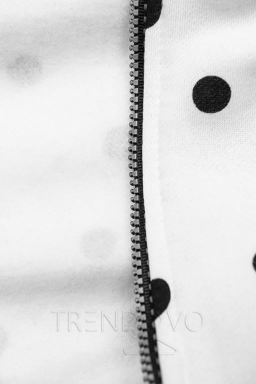 Tečkovaná mikina bílá/černá