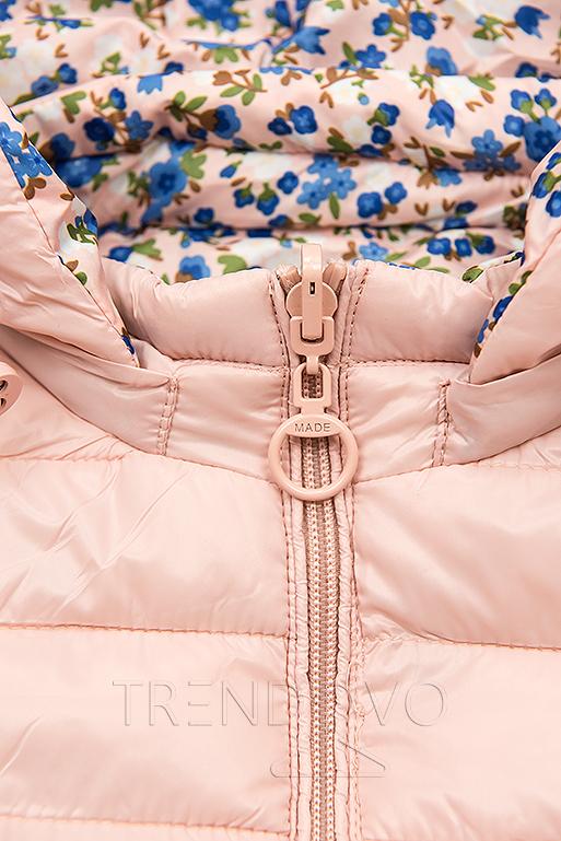 Oboustranná bunda s květinovým futrem světle růžová