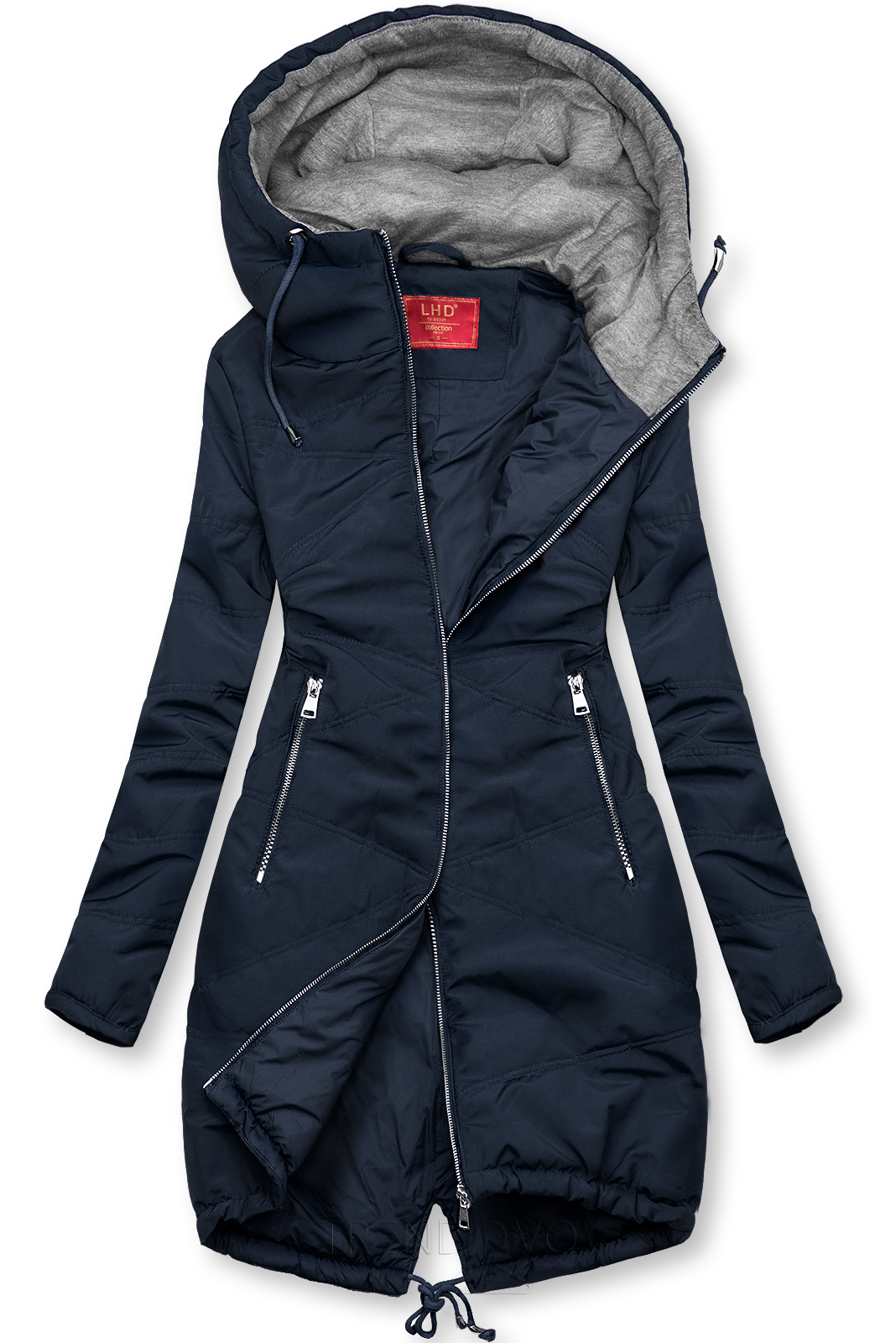 Tmavě modrá prodloužená bunda s kapucí