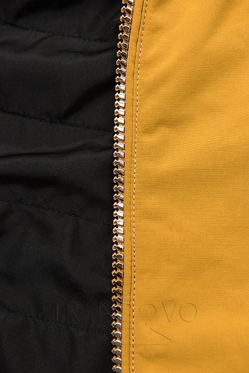 Parka s odepínatelnou kapucí žlutá/černá