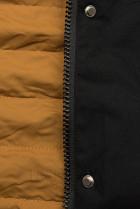 Přechodná parka oboustranná černá/karamel