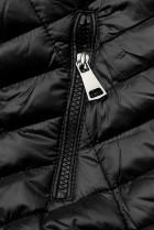 Černá prošívaná lesklá bunda
