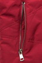 Červená prodloužená bunda s kapucí