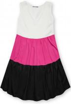 Letní šaty z viskózy bílá/fuchsiová/černá