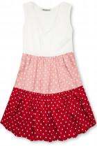 Tečkované šaty z viskózy bílá/růžová/červená