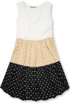 Tečkované šaty z viskózy bílá/béžová/černá