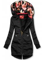 Černá mikina s květinovou podšívkou v kapuci