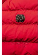 Zimní prošívaná bunda s kapucí červená