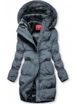 Šedá zimní bunda s plyšovou podšívkou