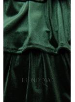 Zelené sametové šaty s volány