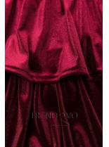 Bordó sametové šaty s volány