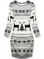 Bílé sametové šaty se zimním motivem