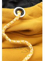 Souprava se vzorovanými rukávy žlutá/černá
