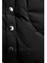 Černá zimní bunda se stříbrným lemem