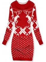 Červené pletené šaty se zimním motivem