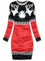 Modro/červené sametové vánoční šaty
