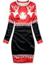 Červeno/modré sametové vánoční šaty