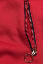 Červená mikina se šikmým zipem